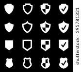 vector white shield icon set.  | Shutterstock .eps vector #295781321