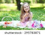happy girl relaxing in park | Shutterstock . vector #295783871