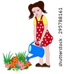 girl watering flowers. | Shutterstock .eps vector #295788161