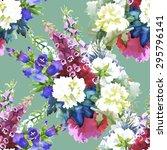 garden floral watercolor...   Shutterstock .eps vector #295796141