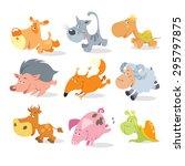 vector animals. running animals.... | Shutterstock .eps vector #295797875