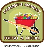 farmer's market sign fresh and... | Shutterstock .eps vector #295801355