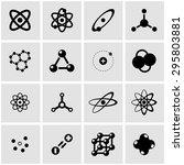 Vector Black Atom Icon Set....