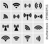 vector black wireless icons set. | Shutterstock .eps vector #295803911