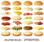 burgers set. ingredients  buns  ... | Shutterstock .eps vector #295809581