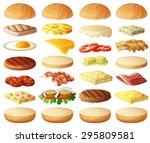burgers set. ingredients  buns  ... | Shutterstock .eps vector #295809581