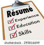 resume word on a clipboard...   Shutterstock . vector #295816649