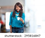 cool black woman drinking coffee | Shutterstock . vector #295816847