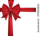 shiny red satin ribbon | Shutterstock . vector #295820831