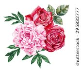 Stock vector peony and red roses bouquet watercolor hand painted isolated on white background vector 295832777