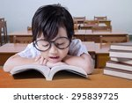 cute girl wearing glasses and... | Shutterstock . vector #295839725