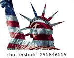 Small photo of Statue of Liberty with overlapping USA flag. Happy 4th July.