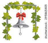 bell with bow hangs on chain on ... | Shutterstock .eps vector #295865405