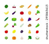 vegetables and fruit icons in... | Shutterstock . vector #295865615
