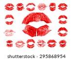 set of 17 imprint of red...   Shutterstock . vector #295868954