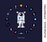 set of space icons and... | Shutterstock . vector #295869581