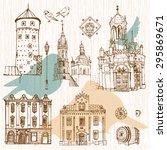 vector sketch old town. hand...   Shutterstock .eps vector #295869671