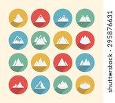 mountain peak icons | Shutterstock .eps vector #295876631