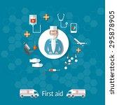 medicine ambulance doctor first ... | Shutterstock .eps vector #295878905