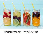 detox fruit infused flavored... | Shutterstock . vector #295879205