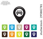 map pointer with car icon.... | Shutterstock .eps vector #295882781