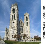 A wide view of The Sacred Heart Cathedral in Newark New Jersey. - stock photo