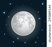moon realistic icon with stars... | Shutterstock .eps vector #295889144