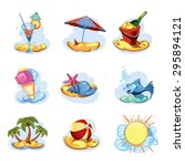 funny icon set. summer time | Shutterstock . vector #295894121