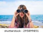girl with binoculats on... | Shutterstock . vector #295899851