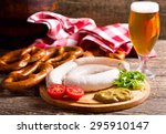 bavarian white sausages with...   Shutterstock . vector #295910147