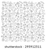 patterns food coffee beer ice... | Shutterstock .eps vector #295912511