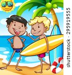 boys in swimming suit on the... | Shutterstock .eps vector #295919555