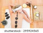 beautiful blonde enjoying a hot ... | Shutterstock . vector #295924565