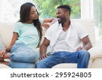 happy couple on the couch at... | Shutterstock . vector #295924805