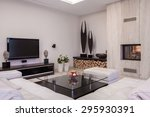 sitting room with plasma tv and ... | Shutterstock . vector #295930391