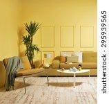 yellow wall modern interior... | Shutterstock . vector #295939565