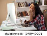 female architect working at... | Shutterstock . vector #295940201