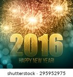 2016  new year made a sparkler. ... | Shutterstock .eps vector #295952975