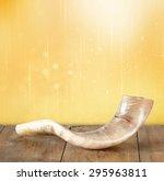 Shofar  Horn  On Wooden Table....