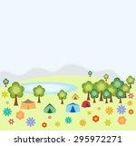 tent camping. nature vector... | Shutterstock .eps vector #295972271