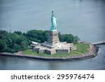 Statue Of Liberty Aerial View...