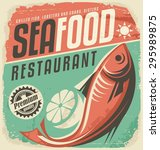 retro seafood restaurant poster.... | Shutterstock .eps vector #295989875