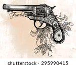Hand Drawn Retro Gun Revolver...