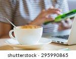 woman using tablet computer in... | Shutterstock . vector #295990865
