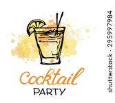 hand drawn poster. cocktail... | Shutterstock .eps vector #295997984