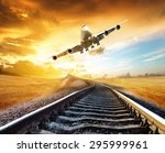 airplane landing on the tracks... | Shutterstock . vector #295999961