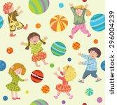 the pattern cheerful cute kids... | Shutterstock .eps vector #296004239