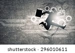 young businessman in suit... | Shutterstock . vector #296010611