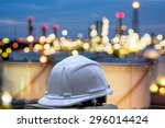 white safety helmet standing in ... | Shutterstock . vector #296014424