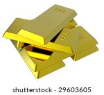 Gold ingots isolated on white. Computer generated 3D photo rendering. - stock photo